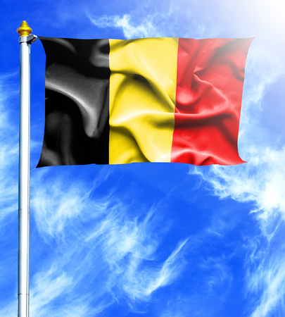 hanged: Blue sky and mast with hanged waving flag of Belgium Stock Photo