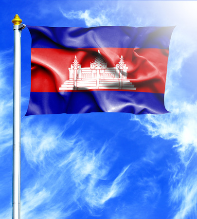 mast: Blue sky and mast with hanged waving flag of Cambodia