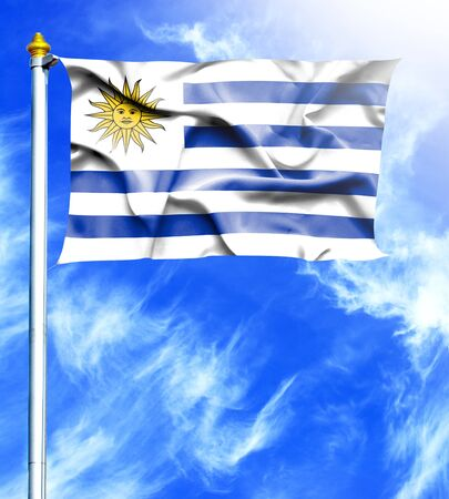 mast: Blue sky and mast with hanged waving flag of Uruguay