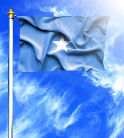 hanged: Blue sky and mast with hanged waving flag of Somalia