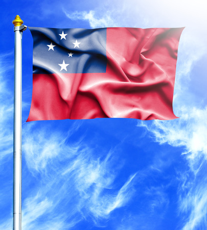 hanged: Blue sky and mast with hanged waving flag of Samoa