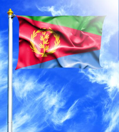 hanged: Blue sky and mast with hanged waving flag of Eritrea
