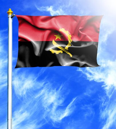 mast: Blue sky and mast with hanged waving flag of Angola Stock Photo