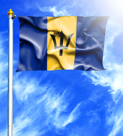 hanged: Blue sky and mast with hanged waving flag of Barbados Stock Photo