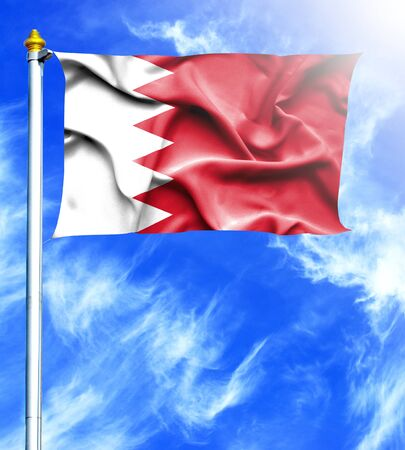 mast: Blue sky and mast with hanged waving flag of Bahrain