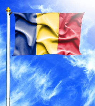 mast: Blue sky and mast with hanged waving flag of Romania