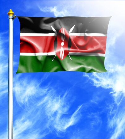 hanged: Blue sky and mast with hanged waving flag of Kenya Stock Photo
