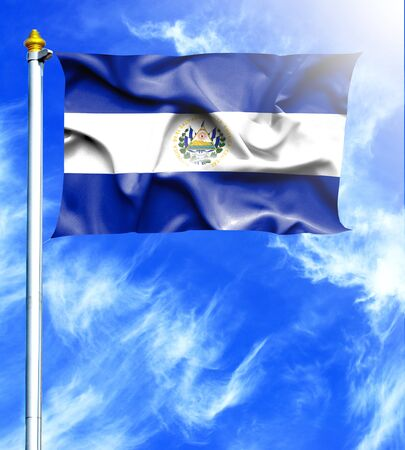 mast: Blue sky and mast with hanged waving flag of El Salvador Stock Photo