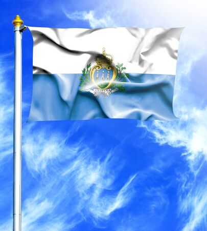 mast: Blue sky and mast with hanged waving flag of San Marino