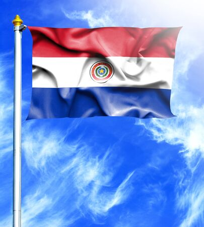mast: Blue sky and mast with hanged waving flag of Paraguay