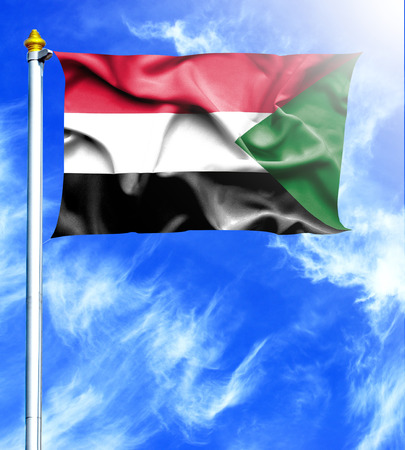 mast: Blue sky and mast with hanged waving flag of Sudan Stock Photo