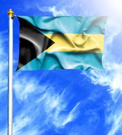 bahamas celebration: Blue sky and mast with hanged waving flag of Bahamas Stock Photo