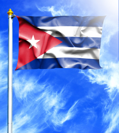 mast: Blue sky and mast with hanged waving flag of Cuba