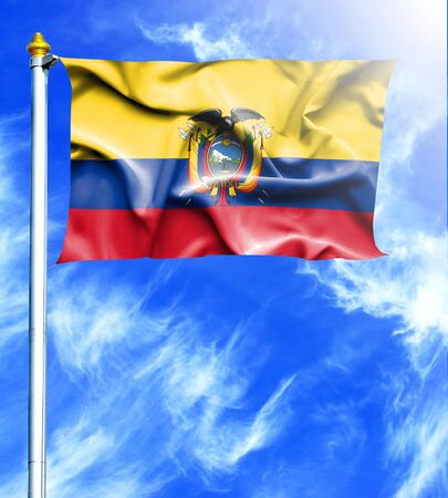 mast: Blue sky and mast with hanged waving flag of Ecuador