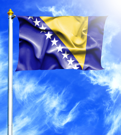 hanged: Blue sky and mast with hanged waving flag of Bosnia and Herzegovina