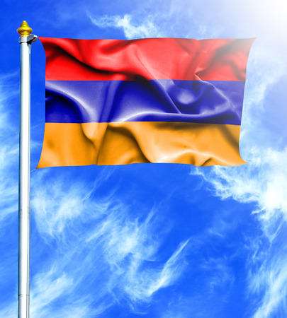 hanged: Blue sky and mast with hanged waving flag of Armenia