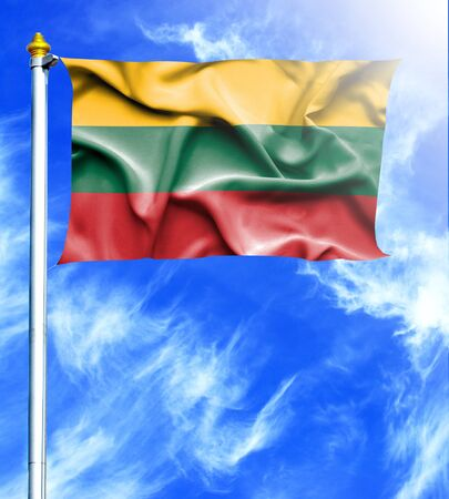 mast: Blue sky and mast with hanged waving flag of Lithuania