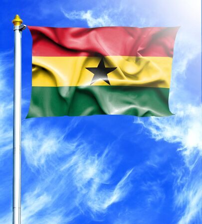 hanged: Blue sky and mast with hanged waving flag of Ghana