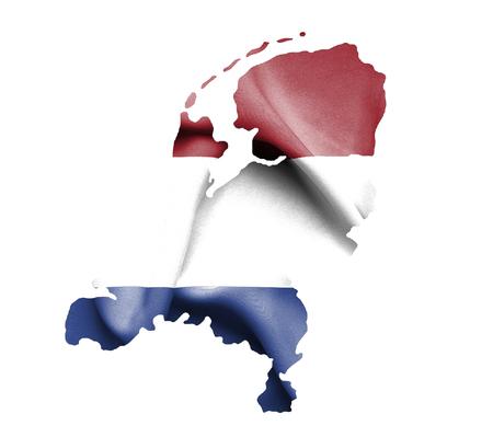 netherlands map: Map of Netherlands waving flag isolated on white