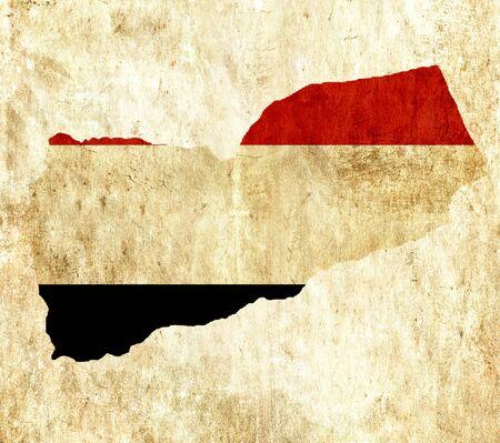 yemen: Vintage paper map of Yemen