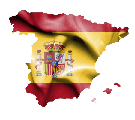 espana: Map of Spain with waving flag isolated on white Stock Photo
