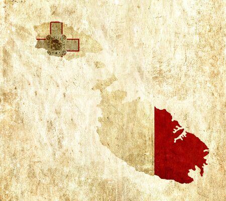 malta map: Vintage paper map of Malta Stock Photo