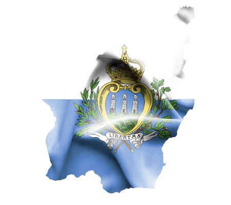 san marino: Map of San Marino with waving flag isolated on white