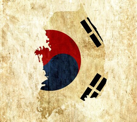 graphical chart: Vintage paper map of South Korea Stock Photo