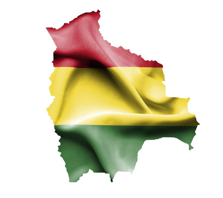 mapa de bolivia: Map of Bolivia with waving flag isolated on white Foto de archivo