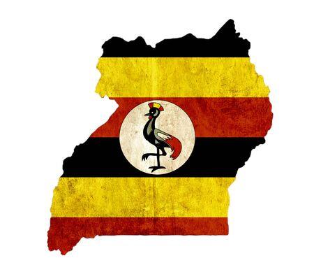 Vintage papier kaart van Uganda Stockfoto