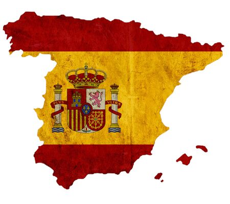 graphical chart: Vintage paper map of Spain Stock Photo