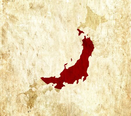 graphical chart: Vintage paper map of Japan
