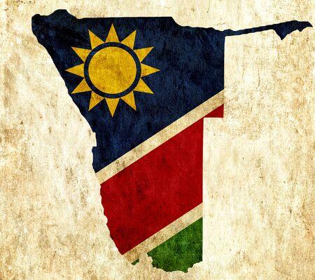 namibia: Vintage paper map of Namibia Stock Photo