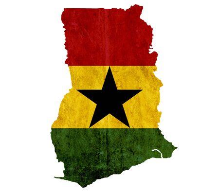 ghana: Vintage paper map of Ghana
