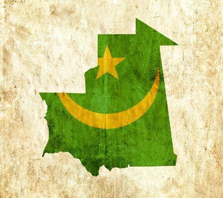 mauritania: Vintage paper map of Mauritania