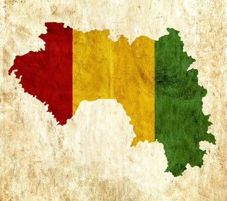guinea: Vintage paper map of Guinea