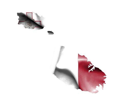 map malta: Map of Malta with waving flag isolated on white