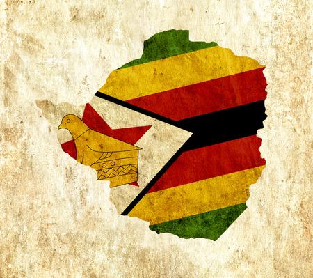 zimbabwe: mapa de papel de la vendimia de Zimbabwe Foto de archivo