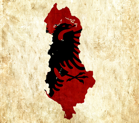 albania: Vintage paper map of Albania Stock Photo