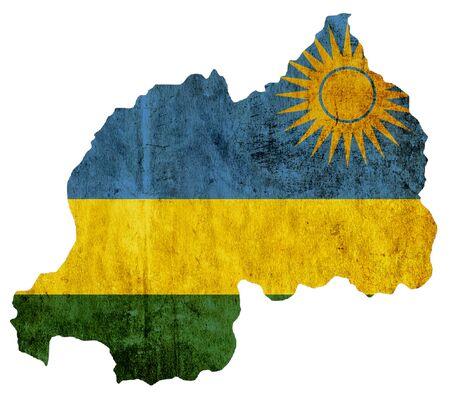 rwanda: Vintage paper map of Rwanda