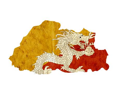 bhutan: Vintage paper map of Bhutan