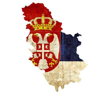 serbia: Vintage paper map of Serbia