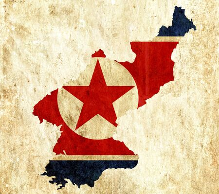 graphical chart: Vintage paper map of North Korea Stock Photo