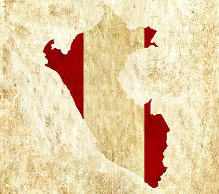 mapa del peru: Mapa de papel vintage de Perú Foto de archivo