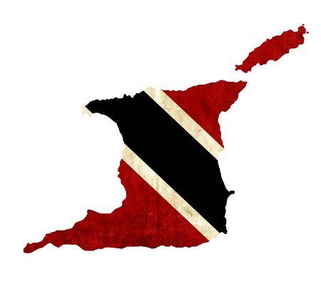 trinidad and tobago: Vintage paper map of Trinidad and Tobago