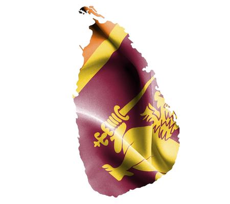 sri lanka: Map of Sri Lanka with waving flag isolated on white