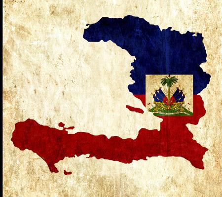 haiti: Vintage paper map of Haiti