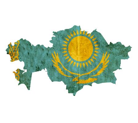 kazakhstan: Vintage paper map of Kazakhstan