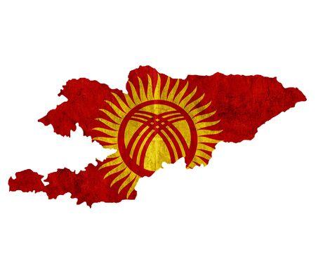 kyrgyzstan: mapa de papel de la vendimia de Kirguist�n