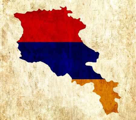 map of armenia: Vintage paper map of Armenia